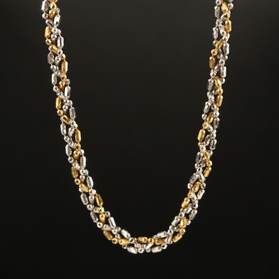14K Two-Tone Gold Braided Link Chain Necklace