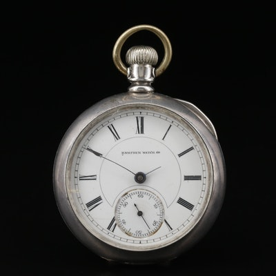 1883 Hampden Coin Silver Pocket Watch