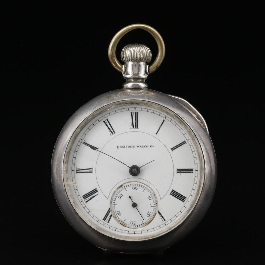 1883 Hampden Coin Silver Pocket Watch
