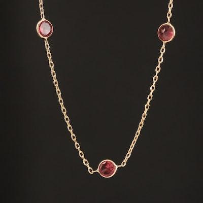 14K Bezel Set Garnet Station Necklace