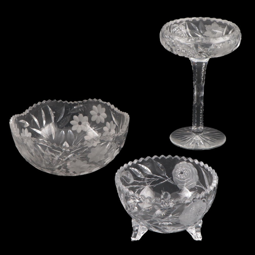 American Brilliant Cut Glass and Etched Crystal Sawtooth Edged Bowls and Compote