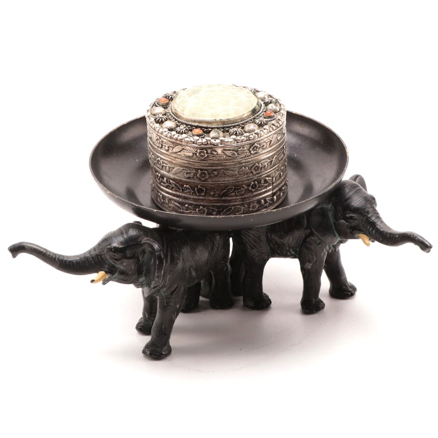 Chinese Embossed Box and Painted Metal Elephant Candle Holder