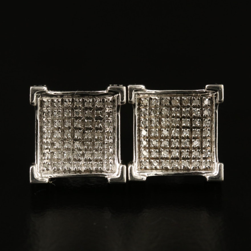 Sterling Diamond Concave Button Earrings