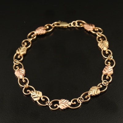Coleman Co. 10K Tri-Color Gold Leaf Link Bracelet