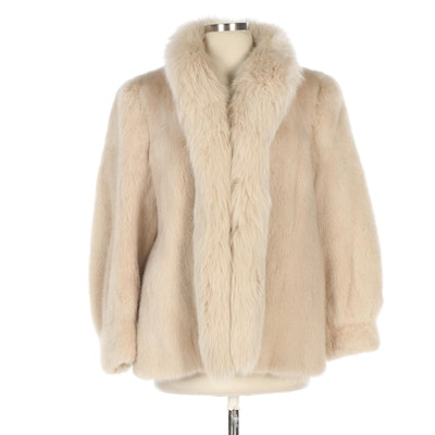Blonde Mink and Fox Fur Jacket with Banded Cuffs from Tarnopol's