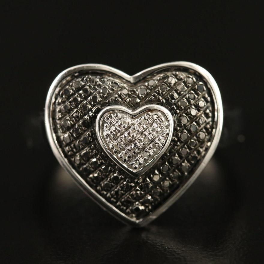 Sterling Pavé Diamond Heart Ring