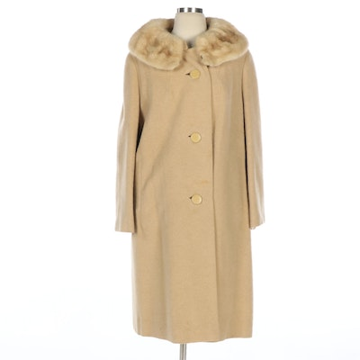 Union Made Shagmoor Felted Coat with Mink Fur Collar