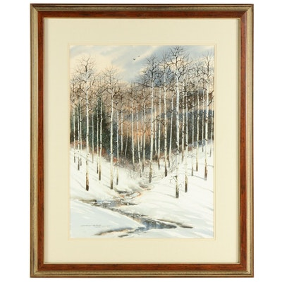 "Michael McCullough Watercolor and Gouache Painting ""Winter Morning"""