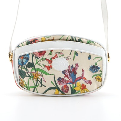Gucci Botanical Canvas and White Leather Crossbody Bag