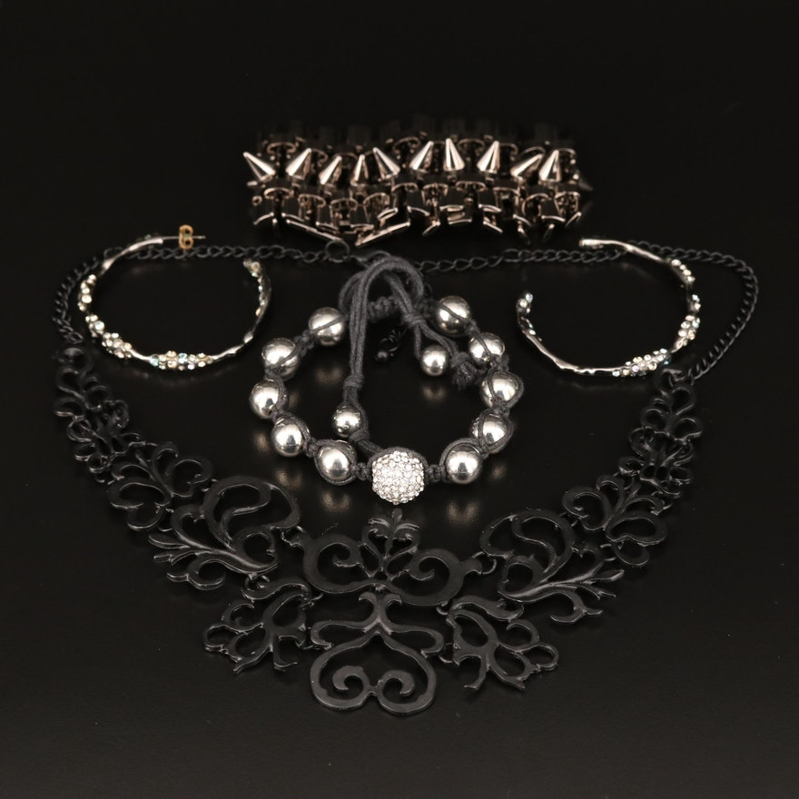 Assortment of Jewelry Featuring Eddie Borgo Stud Bracelet and Openwork Necklace