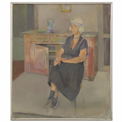 "Virginia Tillou Oil Portrait ""Anna,"" Mid-20th Century"