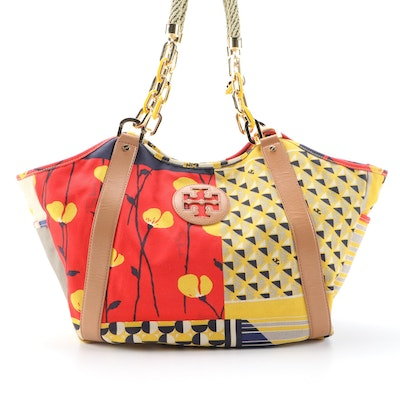 Tory Burch Channing Printed Canvas Tote with Light Brown Leather Trim