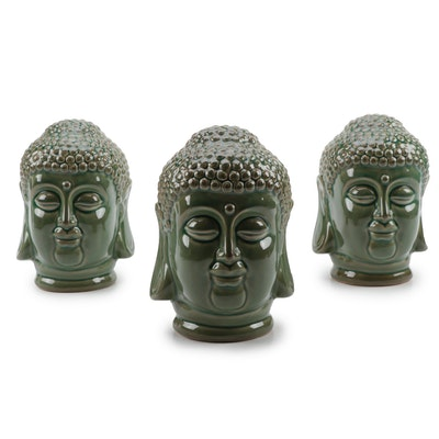 Glazed Ceramic Buddha Head Figurines