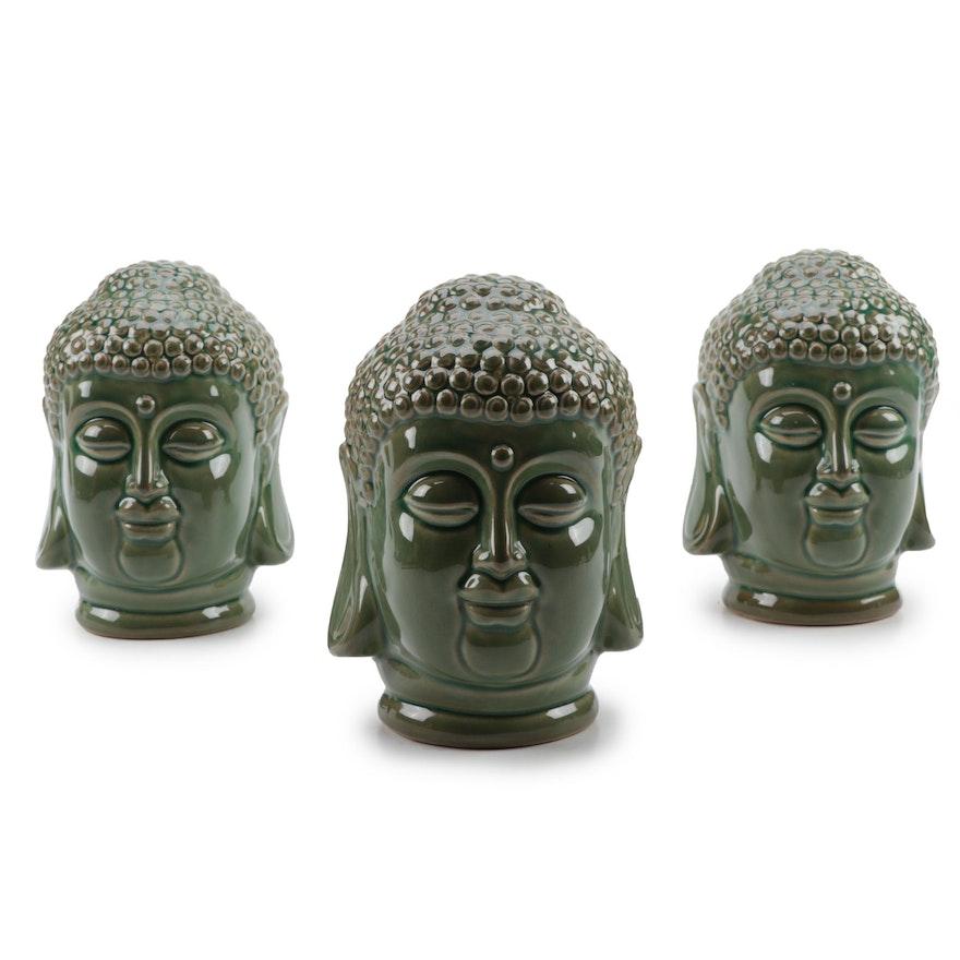 Glazed Ceramic Buddha Head Figurines