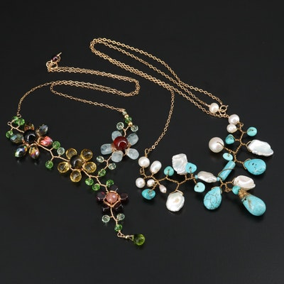 Pearl Cluster Stationary Necklace with Tiger's Eye Y Floral Necklace