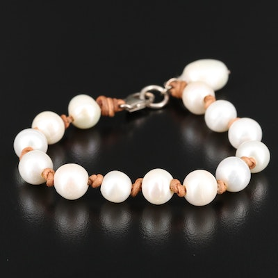 Pearl Knotted Bracelet with Sterling Clasp