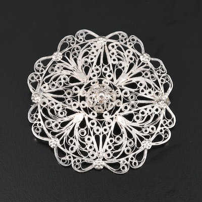 Sterling Silver Filigree Brooch