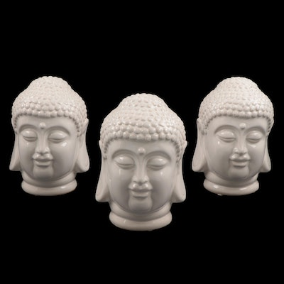 White Glazed Ceramic Buddha Head Figurines