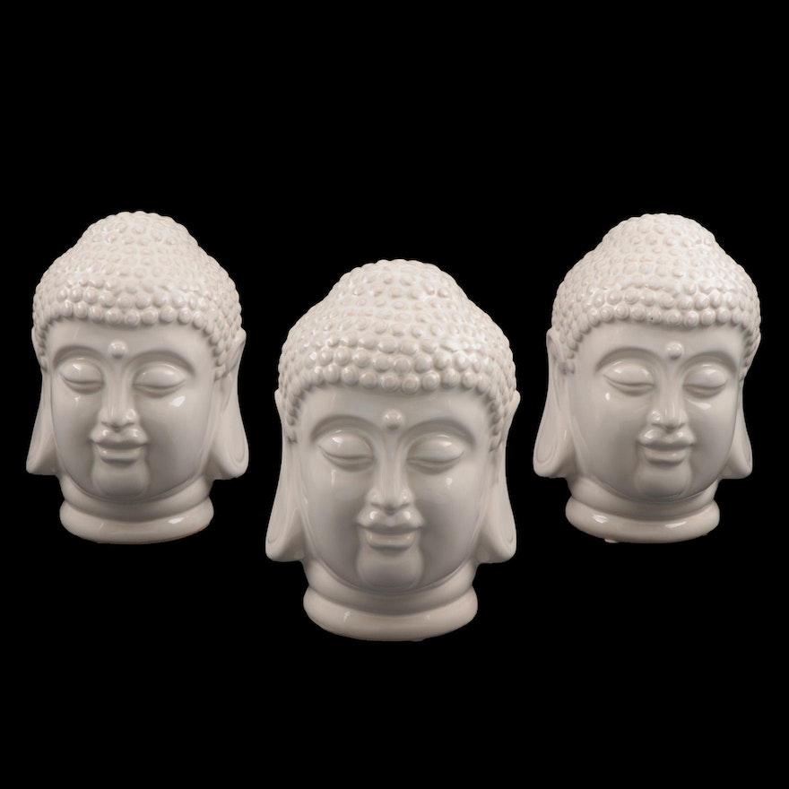 White Glazed Ceramic Buddha Head Figurines