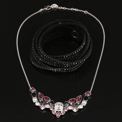 "Swarovski ""Impulse"" Necklace and Crystal Suede Bracelet"