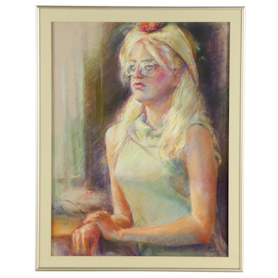 """Betty Reese Pastel Drawing """"Wendy,"""" Mid to Late 20th Century"""