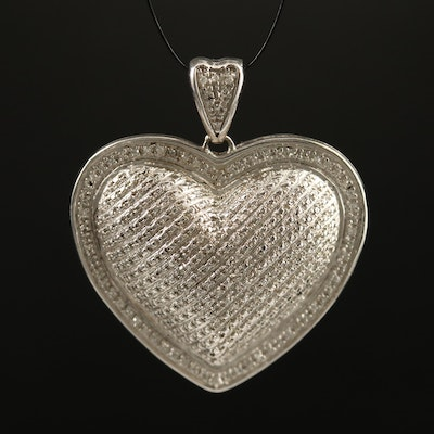 Sterling Silver Diamond Puffy Heart Pendant