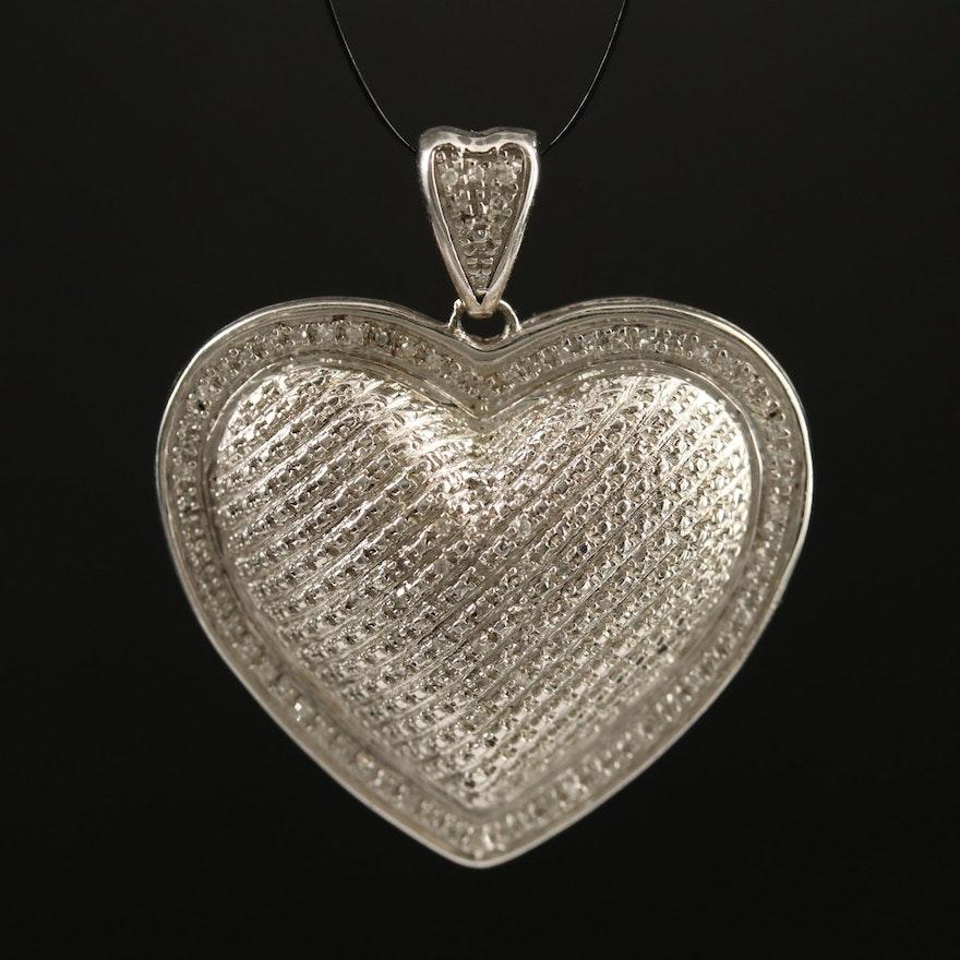 Sterling Silver Diamond Puffy Heart Pendant
