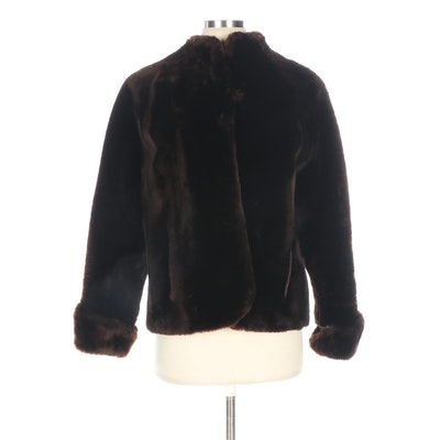 Brown Dyed and Sheared Mouton Fur Jacket with Turned Back Cuffs