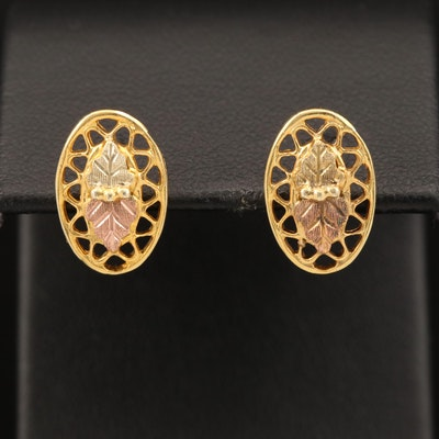 12K Rose, Green and Yellow Gold Leaves Earrings