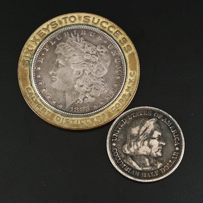 1883 Morgan Silver Dollar Token and 1892 Columbian Expedition Silver Half Dollar