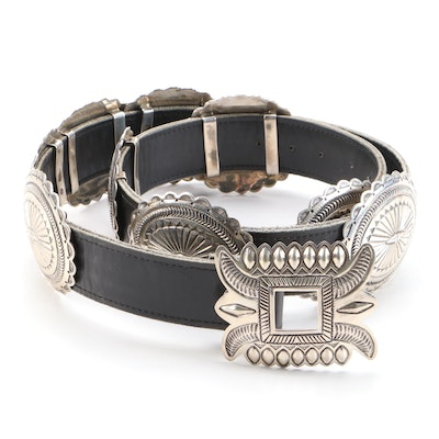 Sterling Silver Concho Southwestern Black Leather Belt