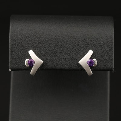Sterling Silver Amethyst Chevron Stud Earrings