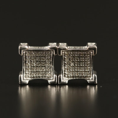 Sterling Diamond Concave Earrings
