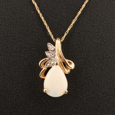 14K Opal and Diamond Pendant Necklace