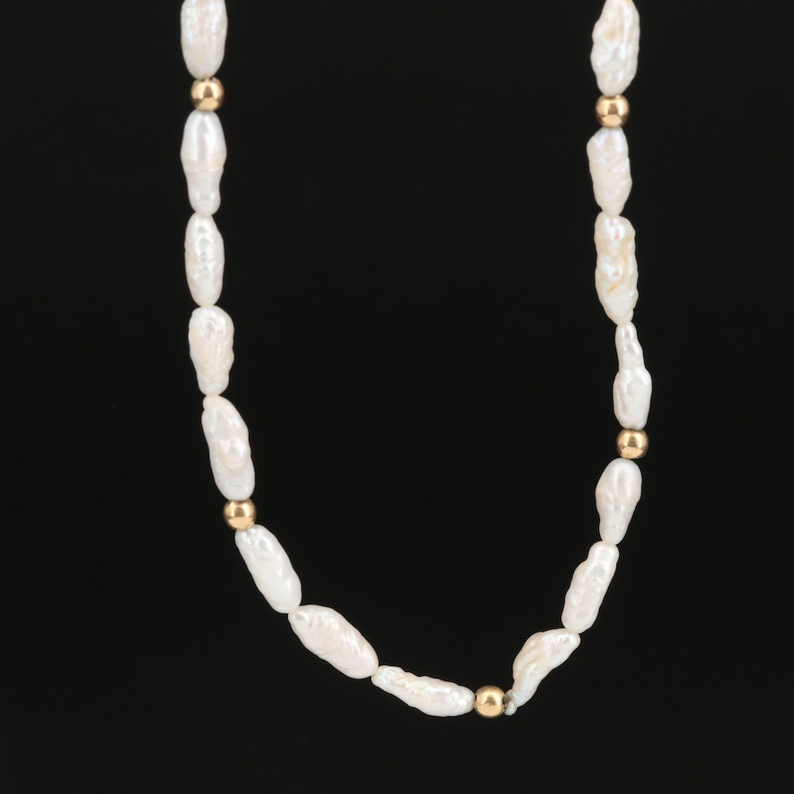 14K Baroque Pearl Strand Necklace