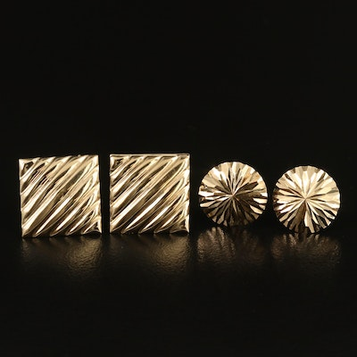 14K Square and Round Stud Earrings