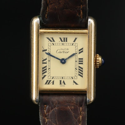 Cartier Tank Vermeil Quartz Wristwatch