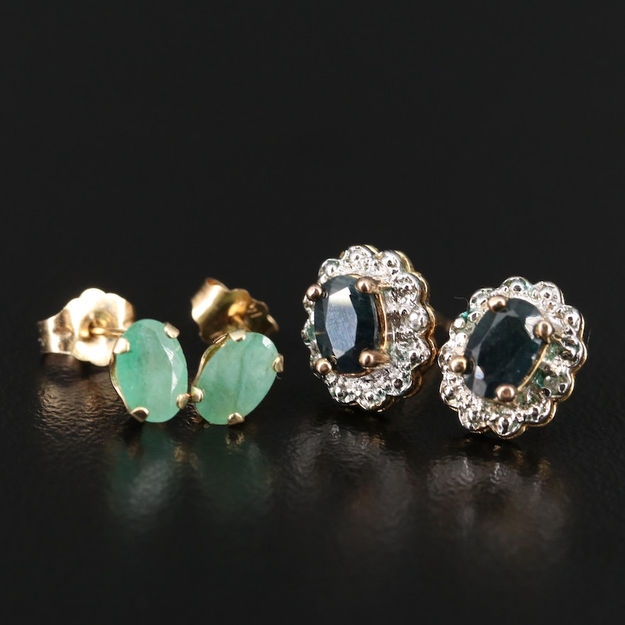 Sterling and 14K Emerald, Sapphire and Diamond Stud Earrings