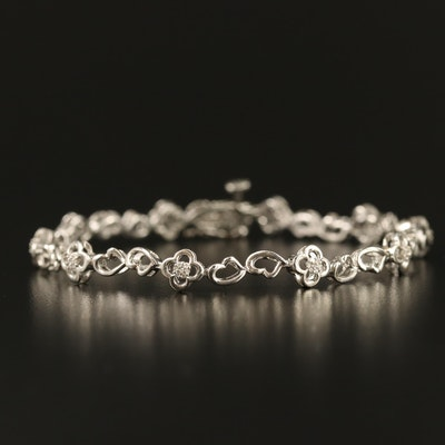 Sterling Silver Diamond Link Bracelet with Quatrefoil and Heart Shaped Links