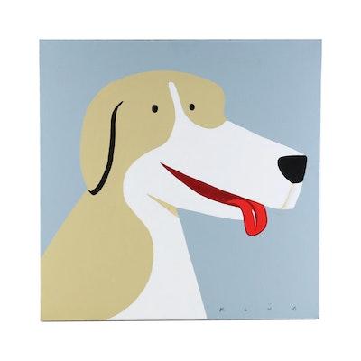 Dave Klug Abstract Canine Portrait Acrylic Painting