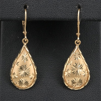 14K Diamond Cut Teardrop Dangle Earrings