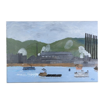 Inez Hess Folk Art Acrylic Painting of Pittsburgh Industrial Scene