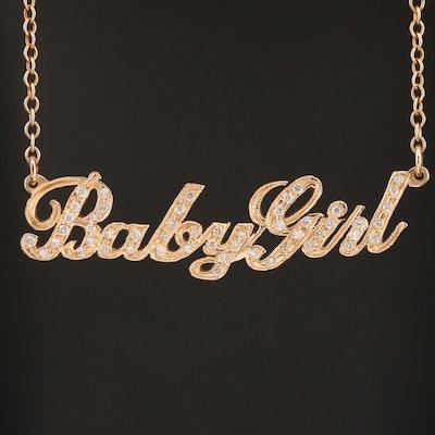 "14K Diamond ""Baby Girl"" Necklace"