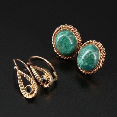 14K Azurmalachite Button Earrings with Glass Dangle Earrings