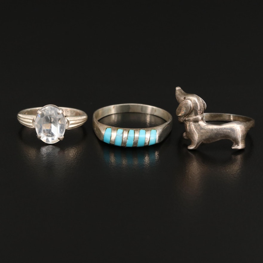 Selection of Rings with Dachshund and Faux Turquoise Rings