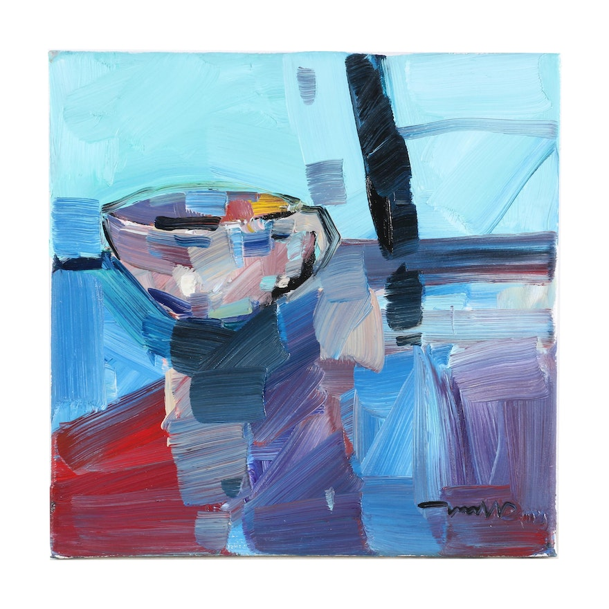 """Jose Trujillo Oil Painting """"Little China Cup,"""" 2020"""