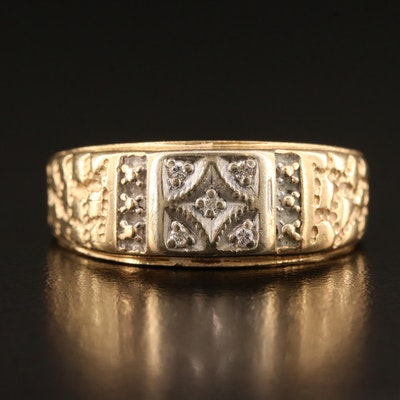 14K Gold Nugget Texture Ring with Diamond Accents