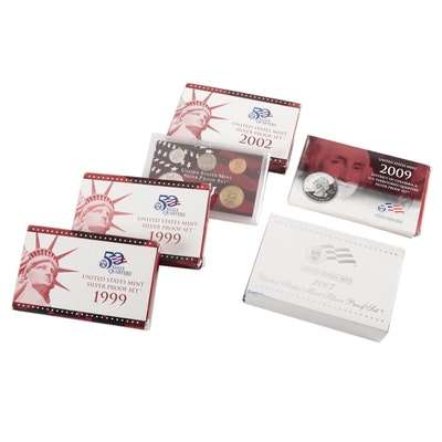 Modern US Mint Silver Proof Sets and Commemorative Quarters Set