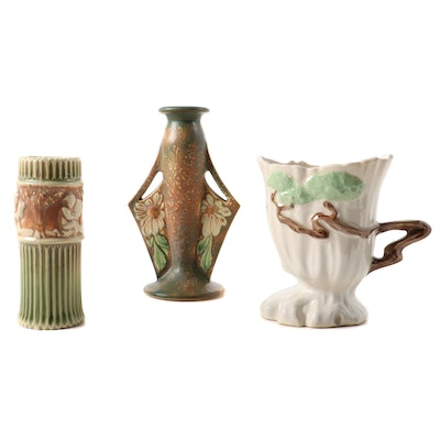 Roseville Pottery, Dahlrose, Donatello, and Temple White Ming Tree Vases