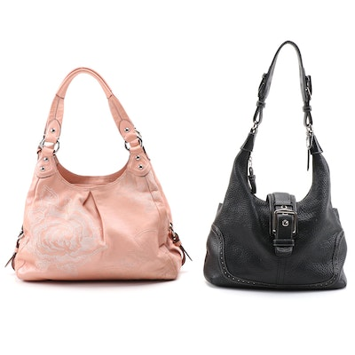 Coach Shoulder Bags in Black Pebbled Leather and Embroidered Blush Leather